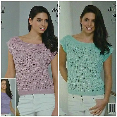 KNITTING PATTERN Ladies 3 styles Sleeveless Diamond Lace Tops DK King Cole 3942