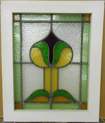 "OLD ENGLISH LEADED STAINED GLASS WINDOW Stunning Bordered Abstract 17"" x 20.25"""