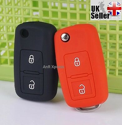 "Silicone 2 Button Key Fob Case Cover For VW Golf Passat Polo Jetta ""WITH LOGO"""
