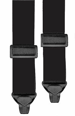 KIDS SKI PANT SUSPENDERS in BLACK - 2 SIZES FOR BETTER FIT - NON METAL CLIPS