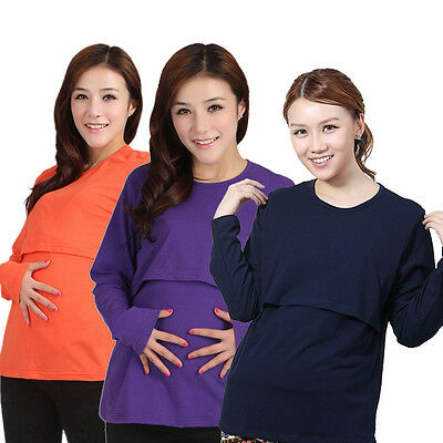Pregnant Maternity Clothes Nursing Tops Breastfeeding Wear Long Sleeve T-Shirt