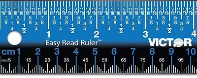 "Victor Easy Read Ruler 18"" Stainless Steel (Blue) EZ18S Victor Technology (AOI)"