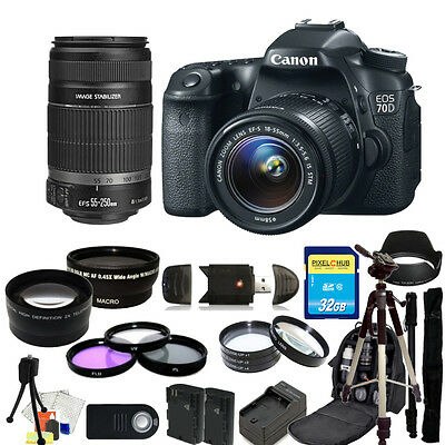 Canon EOS 70D DSLR Camera with 18-55mm and 55-250mm PRO BUNDLE!! Brand New!