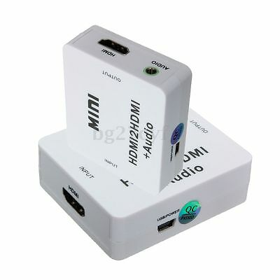 1080P HDMI to HDMI Analog Audio Converter Adapter 3.5mm Stereo Audio Extractor