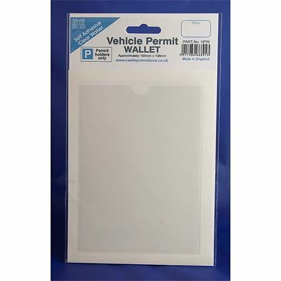 White Vehicle Permit Wallet - Clear Transparent Pocket Parking Dashboard Car Van