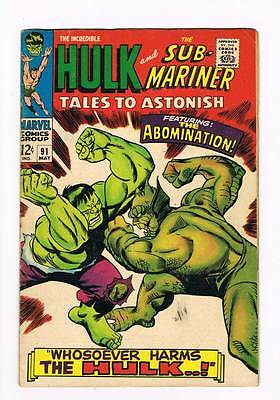 Tales to Astonish # 91  Whosoever Harms the Hulk !  grade 5.0 scarce hot book !!