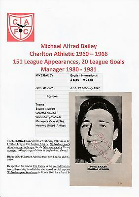 Michael Bailey Charlton Athletic 1960-1966 Original Hand Signed Magazine Cutting