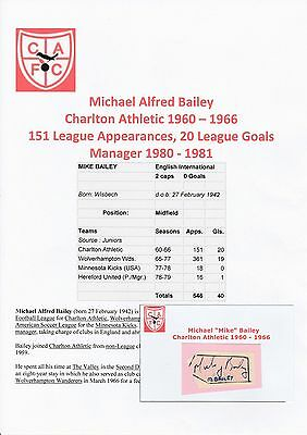 Michael Bailey Charlton Athletic 1960-1966 Original Hand Signed Cutting/card