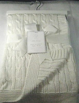 Little Luxury Baby Blanket Cable Knit White  100% Cotton  30 X 40-Great Gift