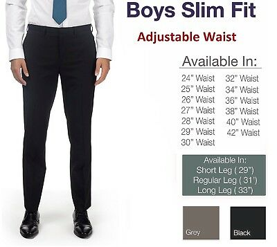 Boys Skinny Trousers School Slim Fit Black Grey Navy Short Regular Long Leg