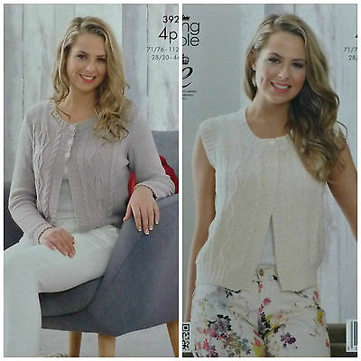KNITTING PATTERN Ladies Long Sleeve Short Cable Cardigan Bamboo Cotton 4ply 3920