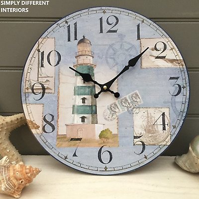 Shabby Round Wooden Nautical Chic Wall Clock Blue & White, Lighthouse