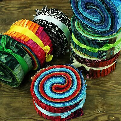 Fabric Jelly Roll Bundle Cotton Strips Pre Cut Quilting Patchwork Sew Assorted