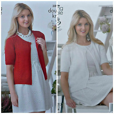 KNITTING PATTERN Ladies Easy Knit or Cable Short Sleeve Cardigan Cotton DK 3893