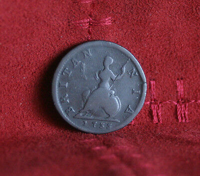 1733 Great Britain Farthing Copper World Coin Britania Seated UK England