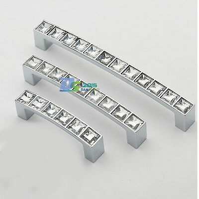 Square Crystal Cupboard Door Furniture Cabinet Kitchen Pull Drawer Knobs Handle