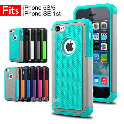 Shockproof Heavy Duty Silicone Hard Tough Cover Case for Apple iPhone SE 5S 5