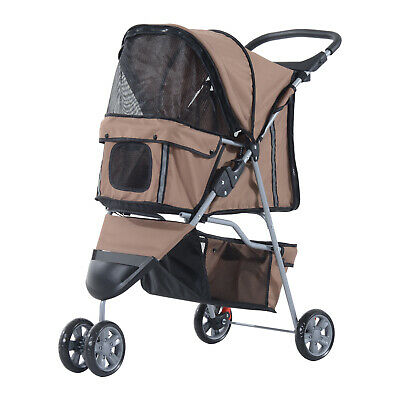 PawHut Coffee Pet Stroller Dog Cat Puppy Jogging Pushchair Carrier w/ 3 Wheels