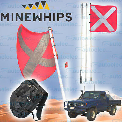 Mine Whip 3 Piece 3.0 Metre Safety Sand Dune Mining Flag & Mount 4X4  + Backpack