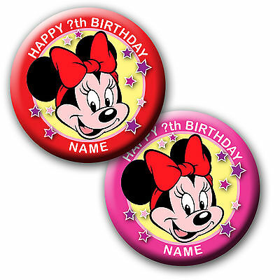 PERSONALISED MINNIE MOUSE BIRTHDAY BADGE/ MAGNETS/MIRRORS 58MM or 77MM
