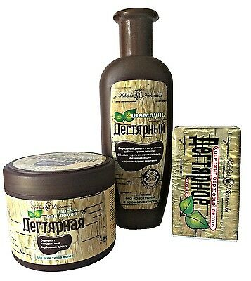 Set of Birch Tar Ecological Shampoo, Hair Mask,Bar Soap: antiseptic, dandruff ..