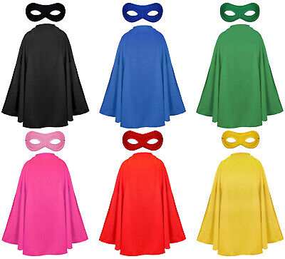 Superhero Cape And Mask Adult Halloween Fancy Dress Character Costume Kit Heroes