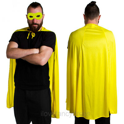Yellow Superhero Cape And Mask Adult Character Fancy Dress Set Comic Book Film