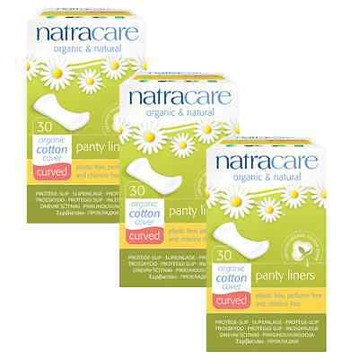 Triple Pack Natracare CURVED Panty Liners Organic Cotton, Chlorine Free.