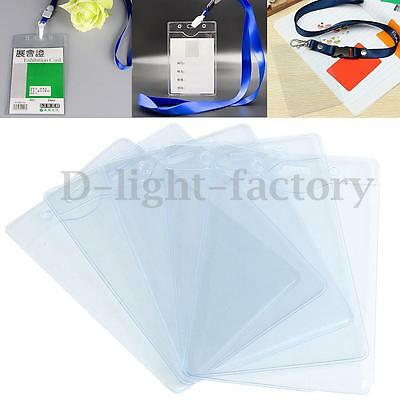 5Pcs Clear Plastic Vertical Pouch Wallet ID Security Pass Holder Ticket Pocket