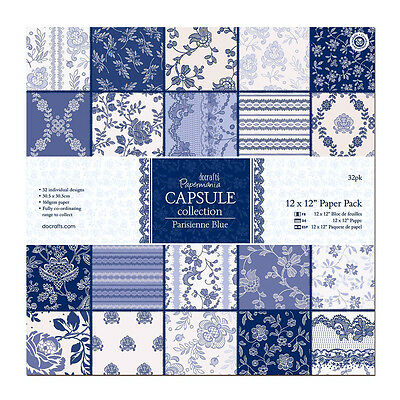 Papermania 12 inch x 12 inch Capsule Collection Paper Pack of 32 Parisienne Blue
