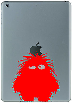 354 Ipad Mini Air RED FLUFFY MONSTER Sticker Decal Tablet Customize  your iPad