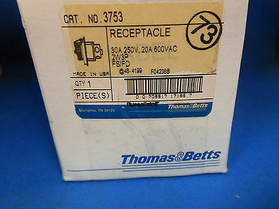 Thomas & Betts / Russellstoll Receptacle 3753 20A@600V 30A@250V 2P 3W FD BOX NEW