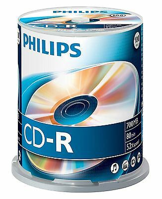 PHILIPS CD-R 80 MINUTES 700MB 52X VITESSE VIERGE CD DISQUES PACK FUSEAU 1 x 100
