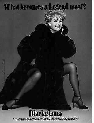 Vintage BLACKGLAMA Print Ad w/ DEBBIE REYNOLDS Proof - Mint