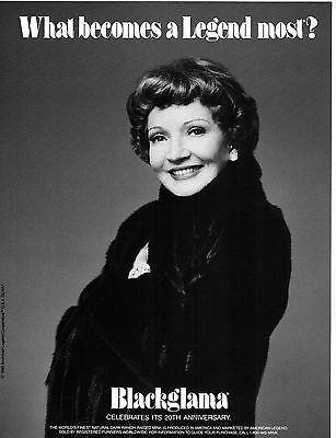 Vintage BLACKGLAMA Print Ad with CLAUDETTE COLBERT - Proof - Mint Condition
