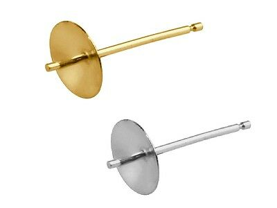 9ct Gold Cup  Peg Post Earrings 3mm 4mm 5mm 6mm Yellow / White Gold UK Findings
