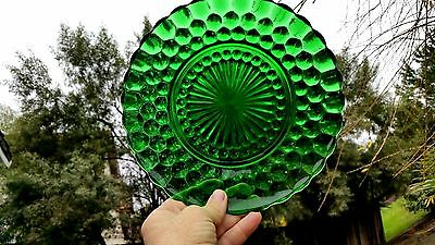 """Forest Green Bubble 9 3/8"""" Dinner Plate - Fire King"""