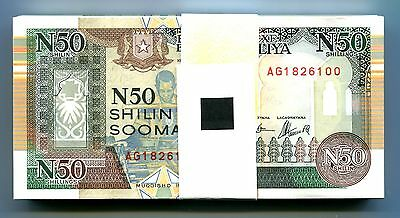 SOMALIA 50 SHILLINGS 1991 P-R2 UNC BUNDLE 100 Pieces (PCS)