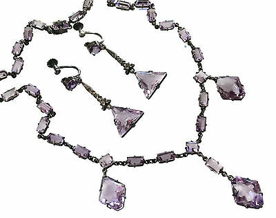 Rare Vintage Art Deco 935 Silver Amethyst Necklace & Earring Set*germany Signed