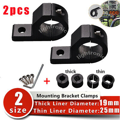 2x 19-25mm Bullbar Pipe Mount Bracket Clamps LED Work Light Bar + 2 set liners