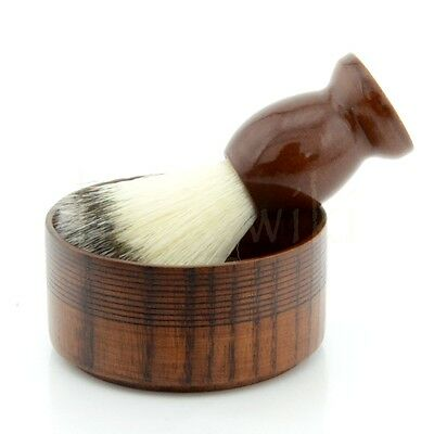 Nylon Wet Shaving Brush Wood Handle + Wooden Bowl Mug Perfect Men Shave Tool