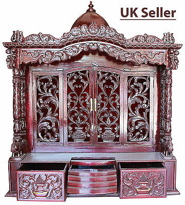 "Savan Wood Hindu Temple Sevan Puja Mandir 48""(W) x 24""(D)x24""(H) _UK Seller"
