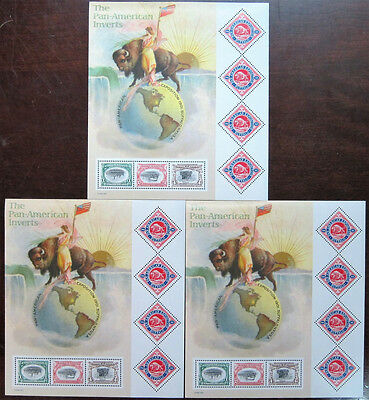 Lot of 3x Pan-American Inverts Stamp Sheets, Scott #3505, MNH Mint Never Hinged