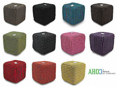Large 35Cm Handmade Chunky Knit Knitted Pouffe Foot Stool Cushion Moroccan Pouf