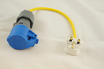 Electric Hook Up Mains UK PLUG Converter Adapter for Caravans, Camping YELLOW
