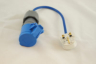 Electric Hook Up Mains UK PLUG Converter Adapter for Caravans, Camping BLUE