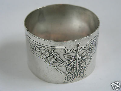rond de serviette argent massif art nouveau napping ring sterling silver 19th