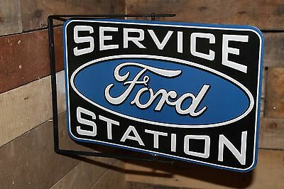 FORD SERVICE STATION Rotating Double Sided Metal w/ bracket gas oil fuel mustang
