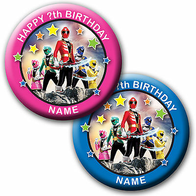 Personalised Power Rangers Mega Force Birthday Badge/magnets/mirrors