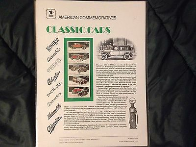 Usps Commemorative Collectible Stamp Panels #316 8/25/88 Classic Cars Mint